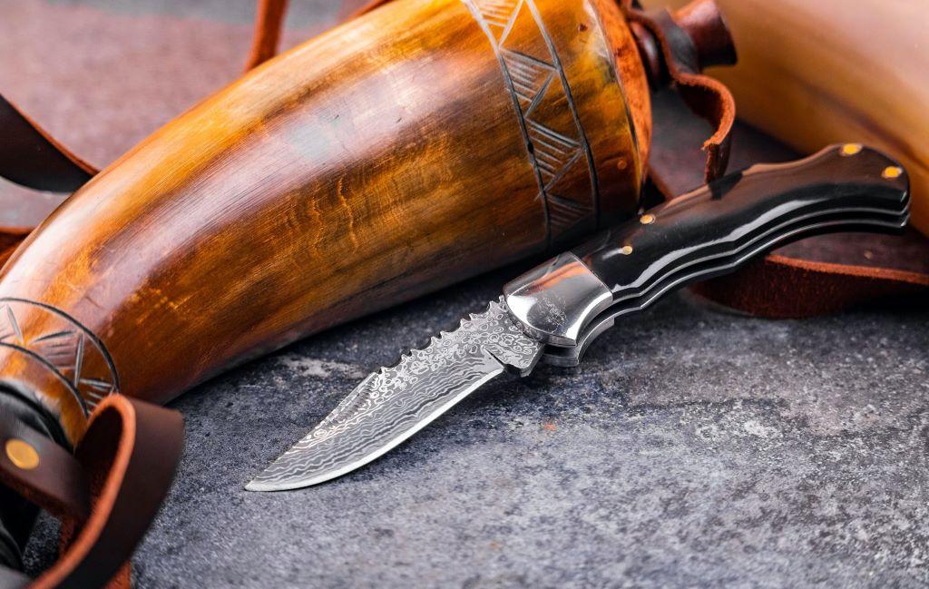 camping damascus edc elk knife